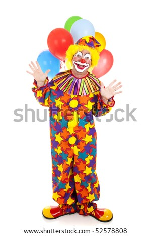Happy birthday clown with a bunch of balloons.  Full body isolated.