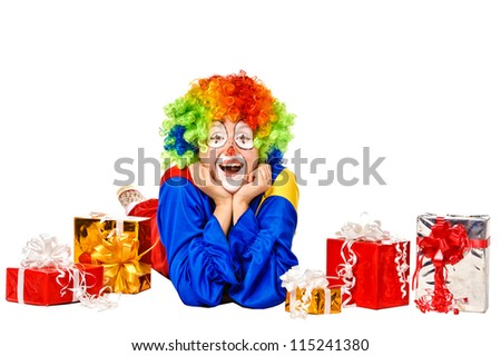 Happy birthday clown with gift boxes. Isolated over white