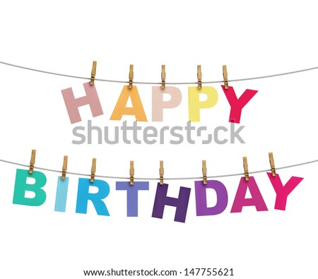 happy birthday colorful letters hanging on rope with clothespins, isolated on white