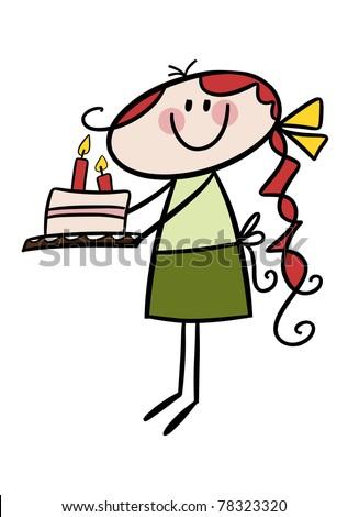 Happy birthday! - Cute little cartoon girl carrying a birthday cake