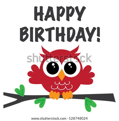 happy birthday cute red owl
