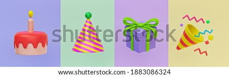 happy birthday 3d icons. birthday cake, hat, gift and Party Popper. minimal colorful design for greeting card. 3d rendering Foto d'archivio ©