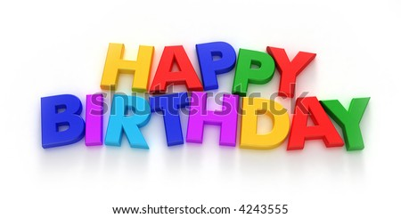 Happy Birthday formed with colorful letter magnets on neutral background
