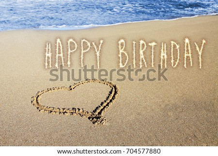 Happy Birthday Greeting Card Abstract Background Collage With Golden Sparks On The Sand Beach