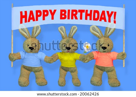 HAPPY BIRTHDAY! HARES holding a sign with whatever you want!