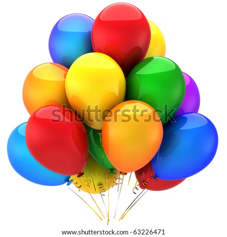 Happy Birthday helium balloons party decoration multicolor. Anniversary graduation holiday celebration greeting card concept. Positive good abstract. Detailed 3d render. Isolated on white background