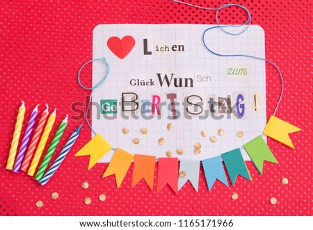 Happy birthday on flags with gift Images and Stock Photos