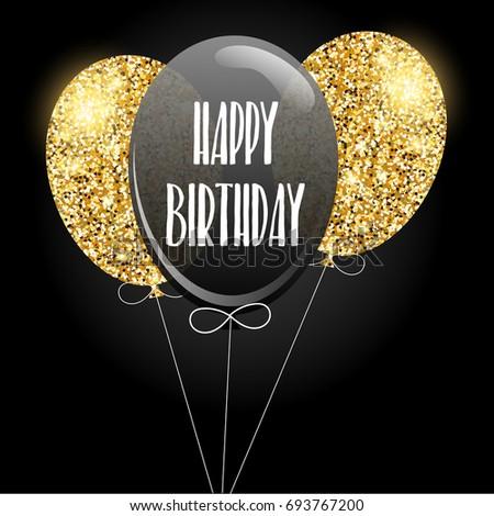 Happy birthday invitation with glitter