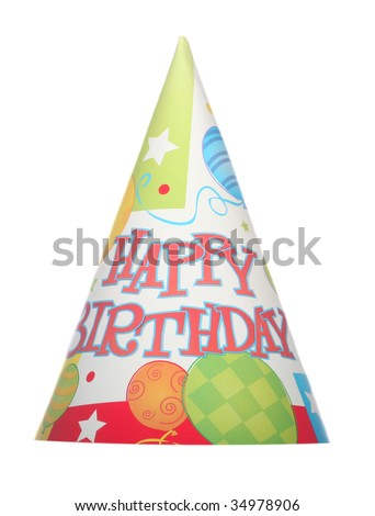 Happy Birthday isolated party hat on white background