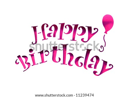 Happy birthday letters stencil cut out stock photo