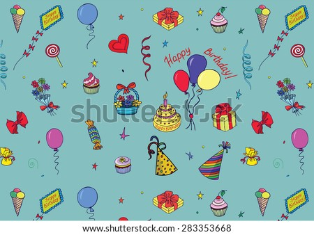 Happy Birthday Pattern made by colorful attributes of its celebration. Sketch style