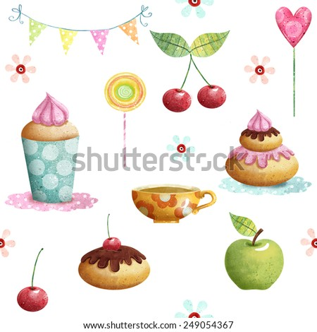 Happy Birthday pattern made of cupcake,cherry, apple, candies,flowers.Birthday background.Party background.
