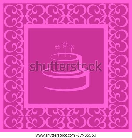 Happy Birthday postcard /Pink Happy Birthday illustrated postcard