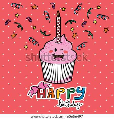 Happy Birthday strawberry muffin with one candle. Raster version of vector illustration ID: 54766924