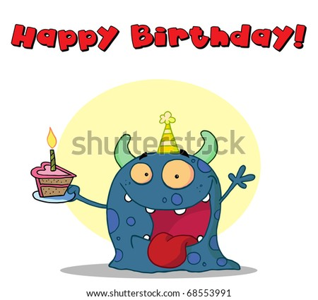 Happy Birthday Text Above A Blue Birthday Monster Wearing A Hat And Holding Cake
