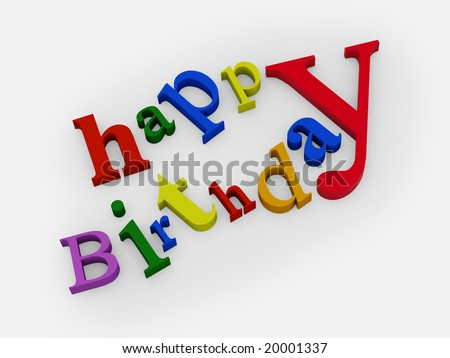 happy birthday text on white background. FIND MORE texts in my portfolio