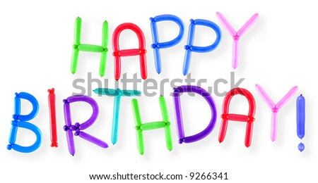 Happy Birthday Text Written With Twisted Balloons Letters Stock