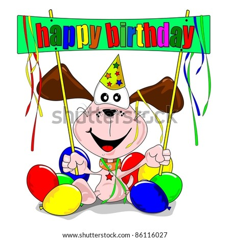 Happy birthday with cartoon dog balloons & party streamers