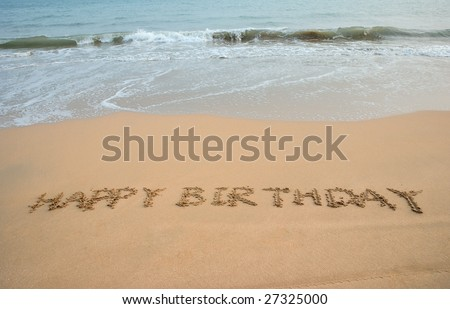Happy Birthday Written In The Beach 27325000