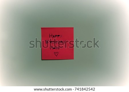 Happy Birthday written on Post it .Pink Sticky Note Message #741842542