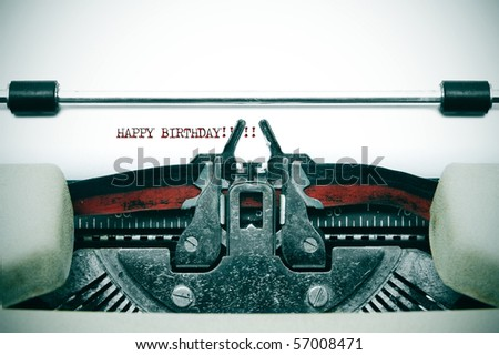 happy birthday written with an old typewriter