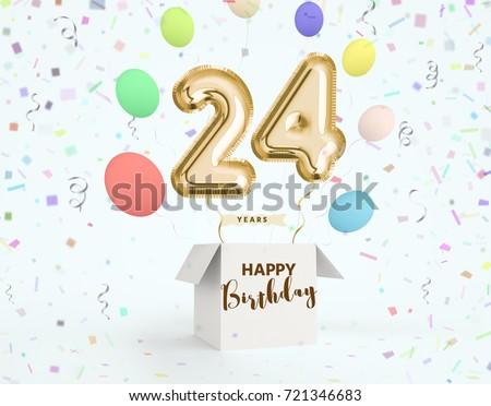 Happy Birthday 24 Years Anniversary Joy Celebration 3d Illustration With Brilliant Gold Balloons Delight