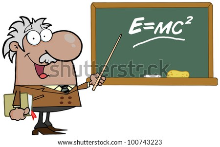 Happy Black Or Hispanic Professor Discussing Mass Energy Equivalence Physics. Raster Illustration.Vector version also available in portfolio.