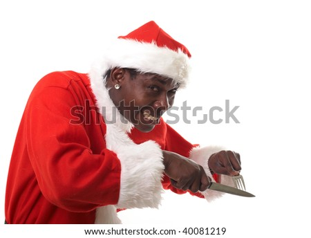 happy black santa claus holding a fork and a knife