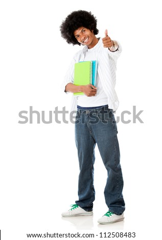 Happy black student with thumbs up - isolated over a white background