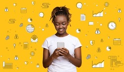 Happy black woman using smartphone on orange studio background, collage with different financial pictograms. Banner design. Mobile payments, online finance education, money investments and planning