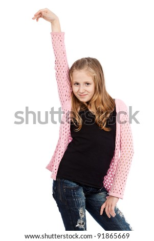 Happy blond girl isolated on white background