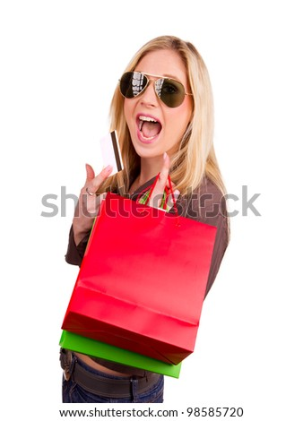 Happy blond woman with shopping bags, isolated on white background