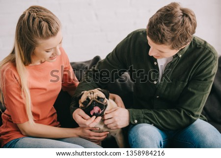 happy blonde woman and cheerful man touching cute pug dog on sofa