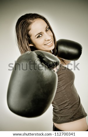 Happy Boxing business woman color processed grunge