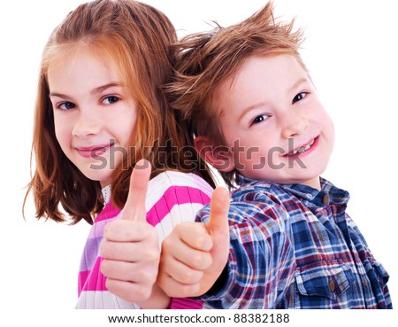 Happy boy and girl  thumbs up