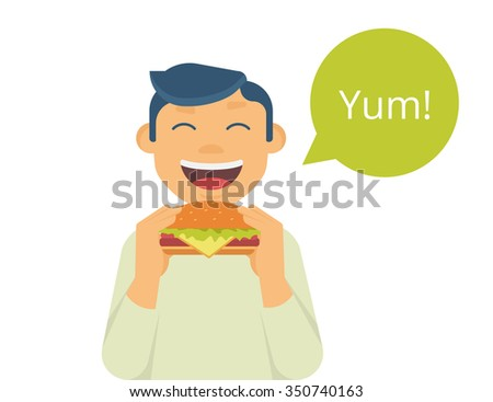 Happy boy eating a big hamburger. Isolated on white with green bubble and text yum #350740163