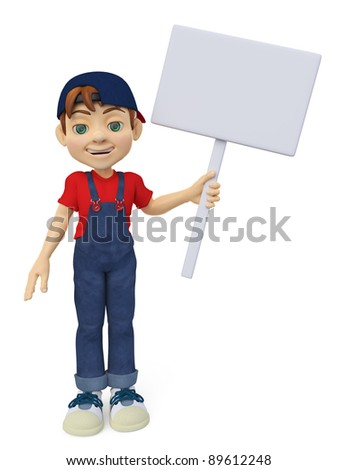 happy boy holding a sign stand up