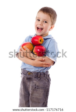 Happy boy holds a three red apples, isolated on white