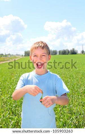 happy boy in the summer field
