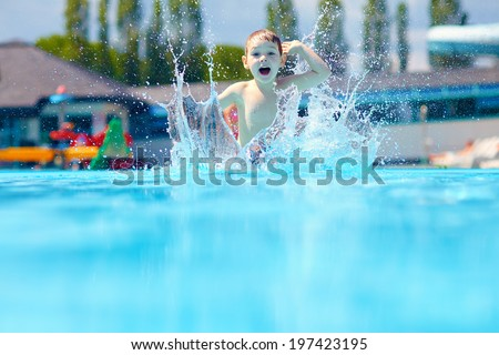 happy boy kid jumping in the pool #197423195