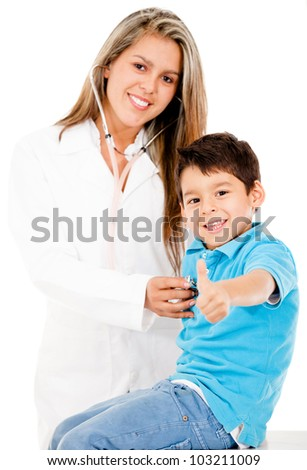 Happy boy paying a visit to the doctor - isolated over a white background