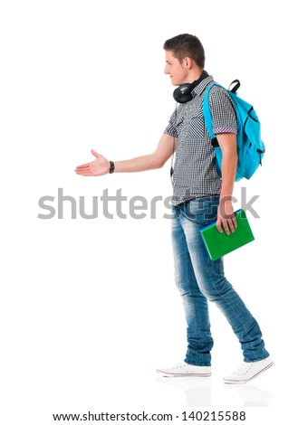 Happy boy student with backpack, isolated on white background