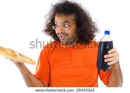 Happy Boy with pizza and soda .
