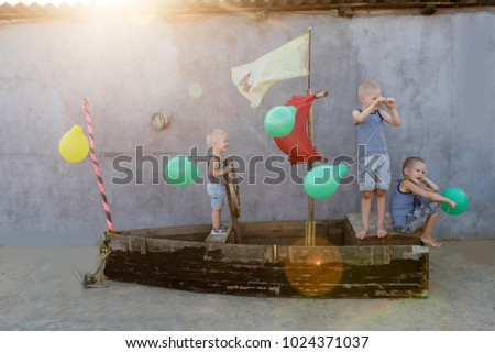 happy boys play pirates and...