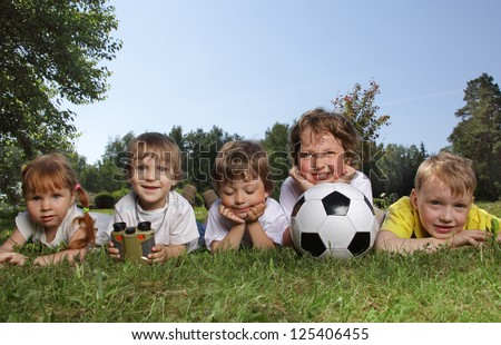 Happy boys with soccer ball