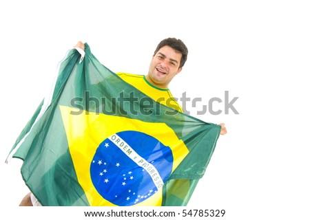 Happy brazilian fan holding brazil flag .