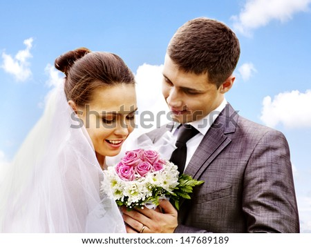 Happy bride and groom wedding summer outdoor. #147689189