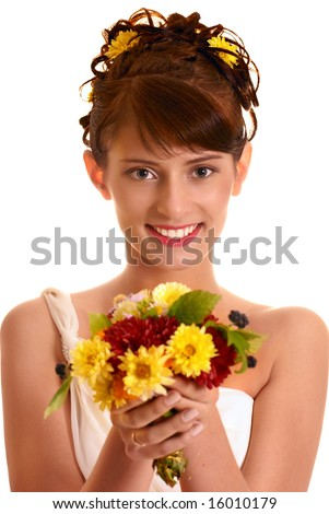 Happy bride with autumn bouquet isolated on white.