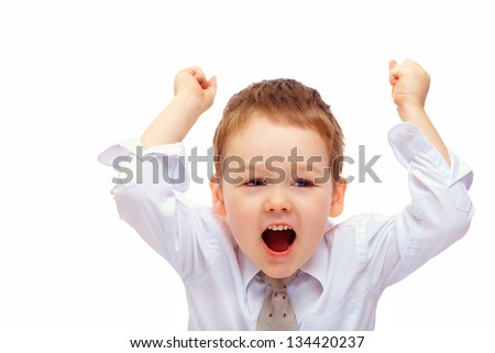 happy business child rising hands, isolated