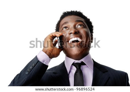 Happy business conversation african man laughing and chatting on the phone